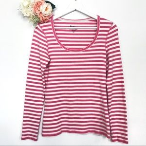 Boden Long Sleeve Striped Pink White Tee Size 6
